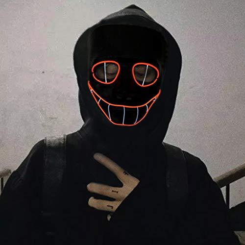 Kostüm Eyes Für Erwachsene Snake - LXF Snake Eye Black Edition Halloween leuchtende Halloween-Maske, 3 Arten von Flash-Modus EL kaltes Licht Halloween-Maske für Weihnachten Karneval Kostüm Cosplay Masque