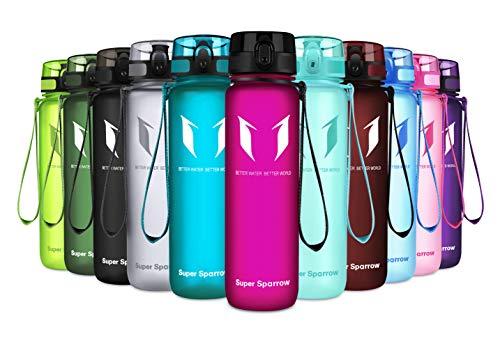 Super Sparrow Trinkflasche - Tritan Wasserflasche - 350ml & 500ml &750ml & 1000ml - BPA-frei - Ideale Sportflasche - Schnelle Wasserdurchfluss - Sport, Wasser, Fahrrad (Fuchsie, 500ml-17oz)
