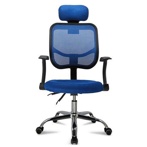 Femor sedia da ufficio girevole con rotelle, sedia con poggiatesta anti cervicale, schienale traspirante, sedia pieghevole regolabile, sedia ergonomica con braccioli (blu)