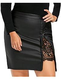 faldas de cuero artificial mujer, Sannysis Falda plisada uniforme con encaje y cremallera ropa de mujer faldas negras faldas corto bohemias verano perchas para faldas desigual mujer faldas