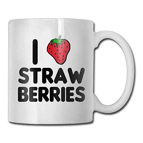 LESKETH I Love Strawberries Coffee Mug 11 Oz Mens Classic Ceramic Gifts Tea Cup A for Your Family and Friends