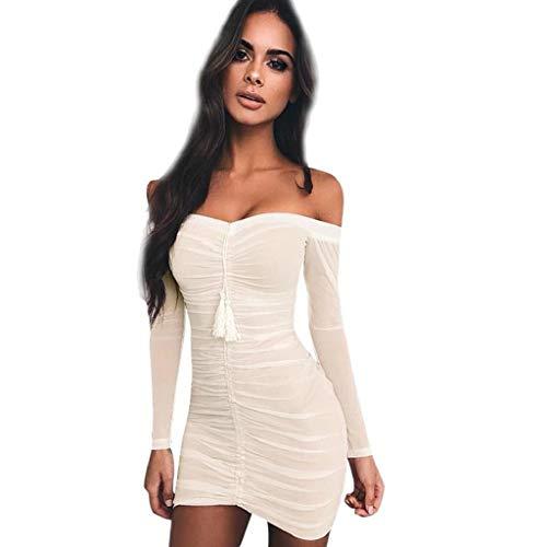Hffan Damen Neu Herbstkleid Eng Minikleid Elegant Sexy Modisch Langarm Schulterfrei Kurz Wickelkleid Stricken Tube Top Kleid Einfarbig Einfach Bequem Freizeit Minikleid (Large, Weiß-A) -