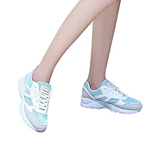 TianWlio Sneaker Damen Mode Schnürschuhe Sportschuhe Atmungsaktiv Outdoorschuhe Beiläufige Schuhe Student Laufschuhe Pink Gray Blue 35-40