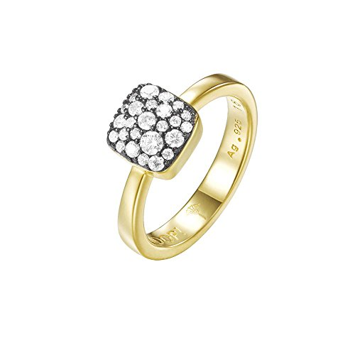 Joop! Damen-Ring JP-M Pave 925 Silber teilvergoldet Zirkonia weiß Gr. 57 (18.1)-JPRG90798E180