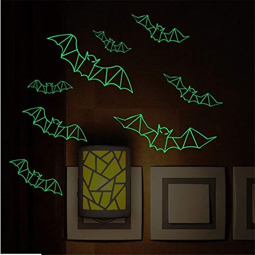 Mddjj halloween luminoso pipistrelli wall sticker deacals home decor poster luce di notte camera da letto adesivo fluorescente murale stickers murali