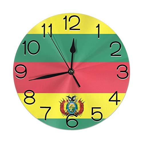 Hectwya Patriotische Symbole von Bolivien dekorative Wanduhr Silent Non-Ticking Battery Operated (Patent-symbol)