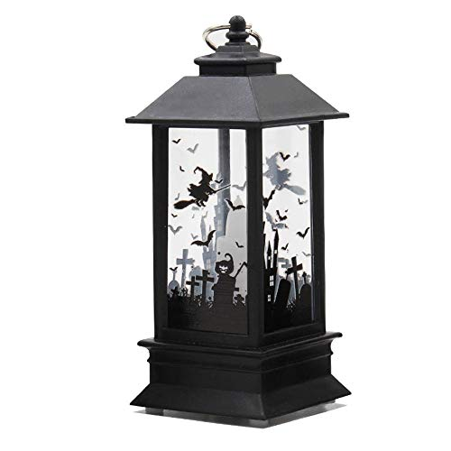 Momola Halloween Laterne,3 Bild Laterne mit flackernder LED-Kerze Batteriebetrieb,Höhe ca. 12.5 cm (Schloss)