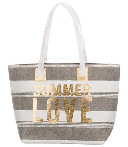 Bari BRANDSSELLER Strandtasche Sommer Love Damen Schultertasche Shopper Sommer Tasche Druckknopf Verschluss Größe 54x18x35 cm - Anthrazit