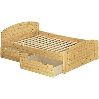 Erst HolzR Funktionsbett Doppelbett Mit 3 Staukasten Rollrost 140x200 Seniorenbett Massivholz Kiefer 6050 14
