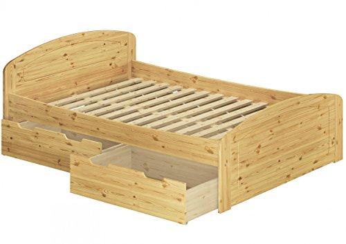Erst-Holz® Funktionsbett Doppelbett mit 3 Staukästen Rollrost 140x200 Seniorenbett Massivholz Kiefer 60.50-14 -