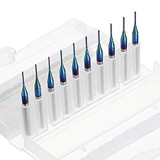 ExcLent 10Pcs 0.5-1.0Mm Blau Naco Beschichtet Pcb Bits Hartmetall Gravur Fräser Für Cnc-Werkzeug Rotary Burrs - 1,0 mm