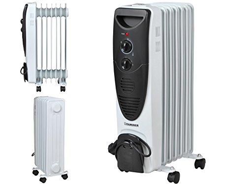 Kaminer Ölradiator(1500Watt,3Heizstufen,Thermostat,7 Rippen,4 Lenkrollen)#2842