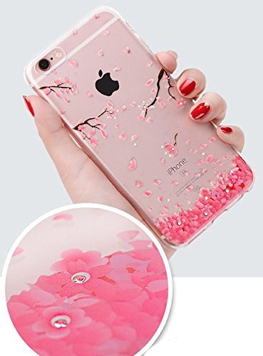iPhone 7 Cover Resistenti,iPhone 7 Cover Puro,URFEDA Vintage Neo Disegni Bella Vintage Elegante Trasparente Clear View Ultra Slim Sottile Morbida Soft TPU Silicone Gomma Gel Intarsiato Vans Glitter Br # 1 Ciliegia