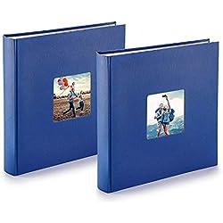PAZZiMO Album photo bleu XXL, collage jusqu'à 400 photos format 10x15, album traditionnel 30x30cm avec papier de protection & couverture épaisse personnalisable, lot de 2