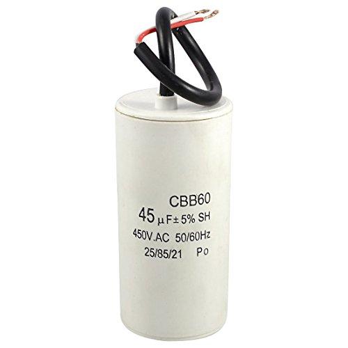 TOOGOO (R) Weisse Plastik 45uF 50/ 60Hz 450V AC CBB60 Motor Start Betriebskondensator (60 Hz-motor)