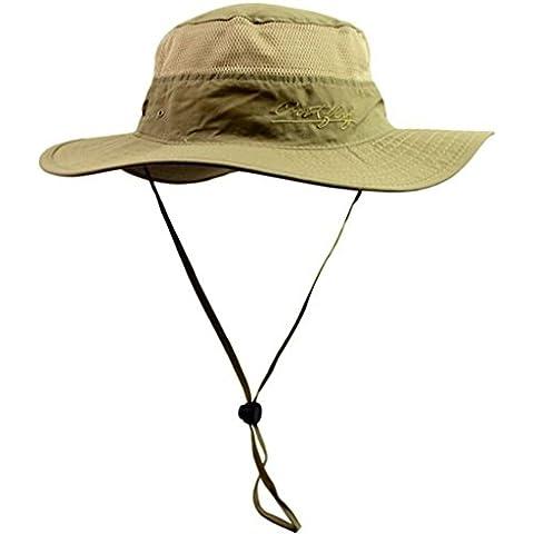 Floppy Sun Hat–Summer sombreros de cubo de Boonie de exterior con diseño de malla–Elegante Visera Gorra con UV proteger–Plegable Playa Caps Para Hombres Mujeres Marrón caqui