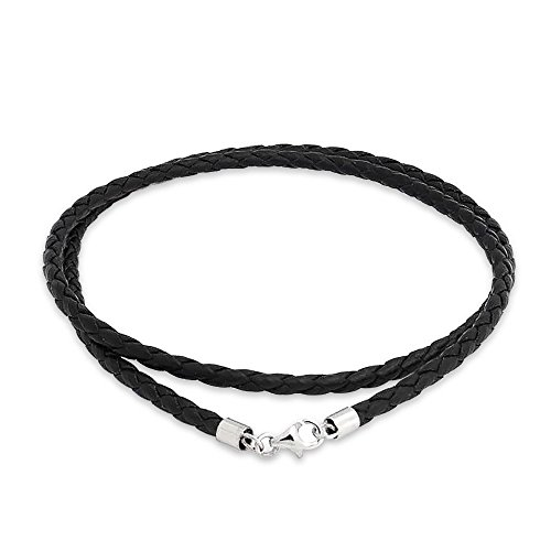 Bling Jewelry 3mm Black Braided Leather Cord Chain Necklace Silver Plated