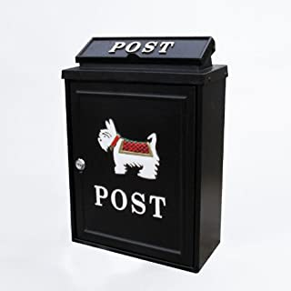 Black Lockable Wall Hanging Post Mail Letter Box with Scotty Dog Design