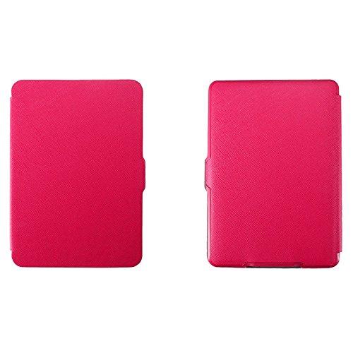Abdeckung - SODIAL(R)Magnetischer PU-Kunstleder Bucheinband Etui fuer Amazon Kindle Paper schlank (Cross-Muster, rote Rose) (Kunstleder Cross)