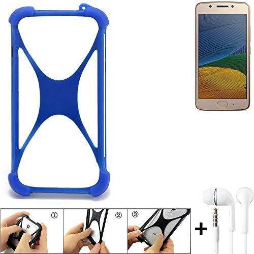 K-S-Trade Handyhülle Lenovo Moto G5 Single-SIM Bumper Schutzhülle Silikon Schutz Hülle Cover Case Silikoncase Silikonbumper TPU Softcase Smartphone, Blau (1x), Headphones