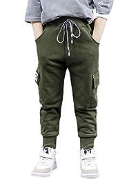 LAPLBEKE Garçons Jogging Pantalon Épaissir Taille élastique Enfant Pantalons  De Survêtement Sport Casual Jogger Cargo Printemps 59314615c85