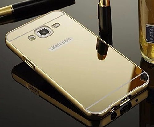 Original Rapid Zone Extra Luxury Metal Bumper + Mirror Back Cover Case For Samsung Galaxy J7 2016 (J710) - Golden