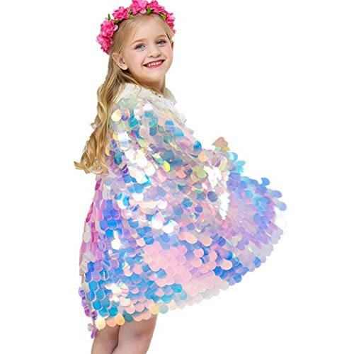 Cleana Arts Mädchen Meerjungfrau Mermaid Umhang Glitzernde Pailletten Nette Prinzessin Süß - Meerjungfrau Kostüm Kid