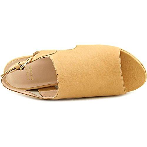 Stuart Weitzman Offandon Leder Keilabsätze Sandale Pecan