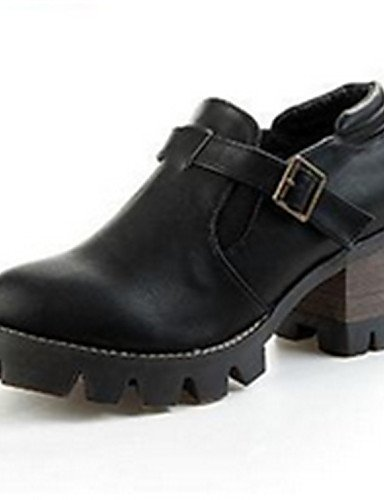 ZQ Scarpe Donna - Stringate - Casual - Punta arrotondata - Quadrato - Finta pelle - Nero / Kaki , black-us8 / eu39 / uk6 / cn39 , black-us8 / eu39 / uk6 / cn39 black-us7.5 / eu38 / uk5.5 / cn38