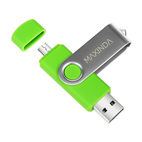 8GB/16GB/32GB/64GB Flash Drive de USB OTG (On the Go) Doble Transforma Memoria USB Stick 2.0 a Micro USB Para Smartphone Android o Tableta (no admite Iphone) (16GB, verde )