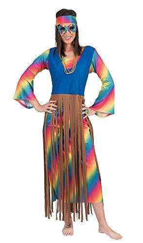 Funny Fashion Rainbow Hippie Fransen Kleid Lucy für Damen Gr. 44 ()