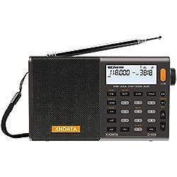 XHDATA D-808 Portable Radio numérique FM stéréo/SW/MW/LW SSB RDS Bande Air Band Multi Haut-Parleur avec Affichage LCD réveil Antenne Externe et 2000mah Batterie (Gris)