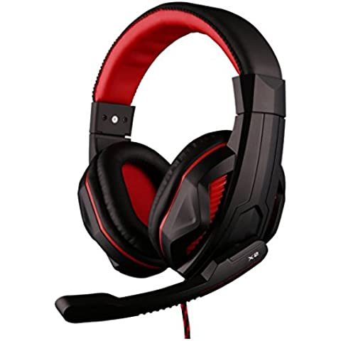 Darkiron Max - Cascos estéreo con micrófono para gaming (cancelación de ruido, control del volumen en el cable) Black&red-X2