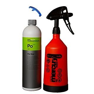 HEWADI® Set Pflege Set Koch Chemie Pol Star und Kwazar Mercury Sprühflasche 360 Grad 1,0 Liter, Inklusive Flaschenöffner von Advanced23