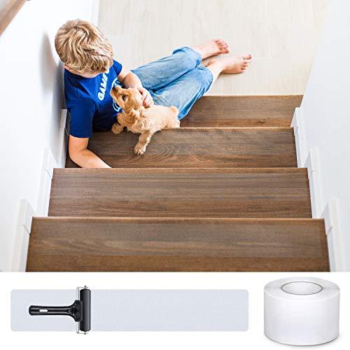 DanceWhale Antirutsch Treppenstufen Transparente klebeband, 10cm x 10m Selbstklebend Stufenmatten Rutschfest Streifen für Treppen&Fußboden, Sicherheit für Kinder, Älteste und Haustiere -