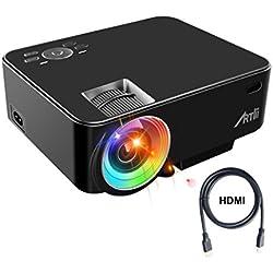 Artlii Retroprojecteur, Videoprojecteur Portable LED Soutien HD 1080p HDMI USB VGA AV SD,Projecteur de Cinéma Maison(Noir)