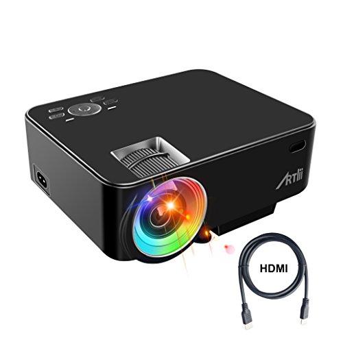 Retroprojecteur, ARTLII Videoprojecteur Portable LED Soutien HD 1080p HDMI USB VGA AV SD,Projecteur de Cinéma Maison(Noir)