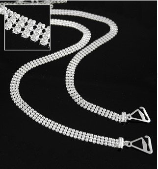 VN Trends Classic 3 Reihen Clear Crystal Diamante BH Träger verstellbar - 1 Paar -