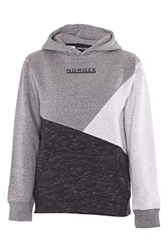 Noroze Jungen Kapuzenpullover Kinder Kontrast Fleece Vlies Sweatshirt Pullover Kapuzenpulli (11-12 Jahre, Anthrazit)