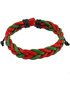 Paula & Fritz® Armband Leder Multi 3 geflochten grün rot schwarz SL0173 [Schmuck]
