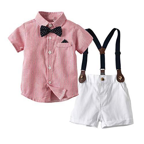Likecrazy Jungen Baby Bekleidungssets Hemd +Hose Infant Gentleman Overalls Fliege T-Shirt Tops + Shorts Kleidung Outfits Kinder Anzug Hochzeit Festliche Spielanzug Overall-shorts-outfit