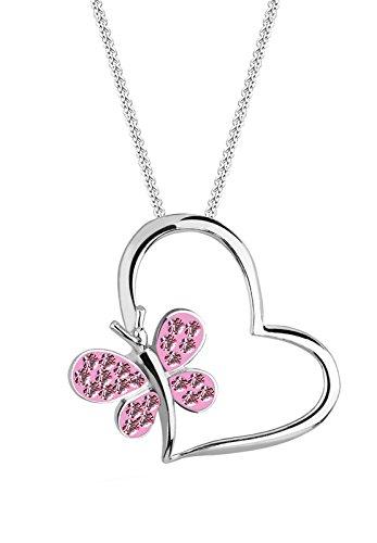 Elli Damen-Halskette mit Anhänger Herz Schmetterling silber 925 Swarovski Kristall rosa 0105222411_45 - 45cm Länge