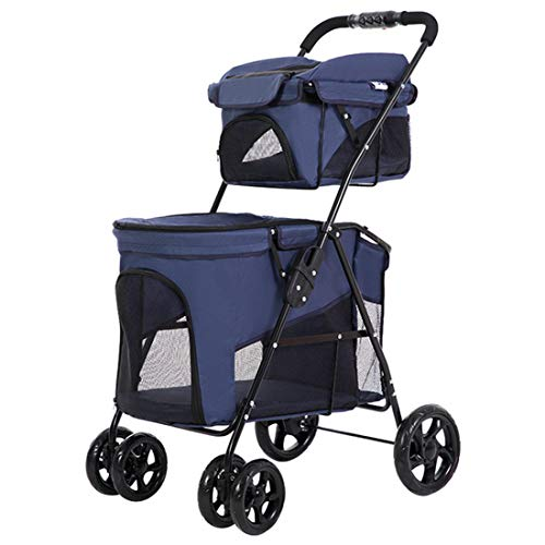 MZYKA Kleine Pet Stroller Hund Katze Trolley Double Layer Bearing 5 kg und 12 kg Folding Handkarre, Rugged Stativ Entwurf, Ganzkörper Abnehmbare und reinigen,Blau -