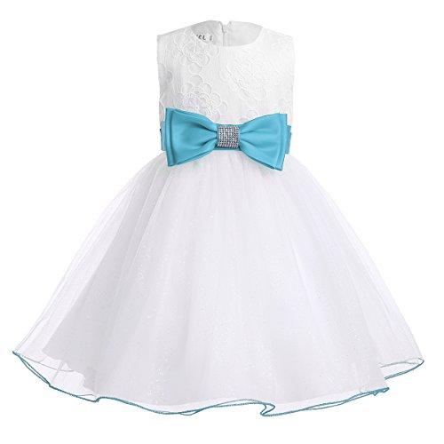 iEFiEL Babybekleidung Baby-Mädchen Kleid weiß Taufkleid festliche Kleider  Hochzeit Blumenmädchenkleider Kleinkind Kleidung Himmelblau 74-80 ... c50c1c9bd6
