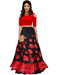2f56606d1e5b2f AT vaghasiya Women's Satin Long Skirt Gown and Top (Red, Free Size)