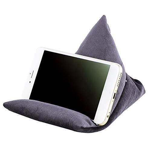 Handykissen, Mini Sitzsack Kissen, multifunktional, Tablet Handy Ständer, Sitzsack, Kissenhalter für Zuhause, Büro, Reisen, grau