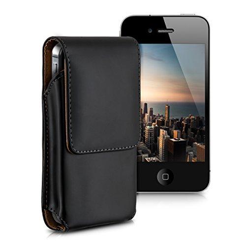 Leder Iphone 5s Case Gürtel Clip (kwmobile Gürteltasche Hülle für Smartphones mit Gürtelclip - Kunstleder Gürtel Case mit Gürtelschlaufe in Schwarz Innenmaße: ca. 12,5 x 6,3 cm)