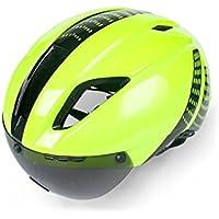 Flowerrs Casco Scooter Ciclo de Bicicleta Cascos con Gafas Desmontables Bike Racing Casco de Bicicleta Adulto Ajustable (Verde + Negro) Skate Helmet