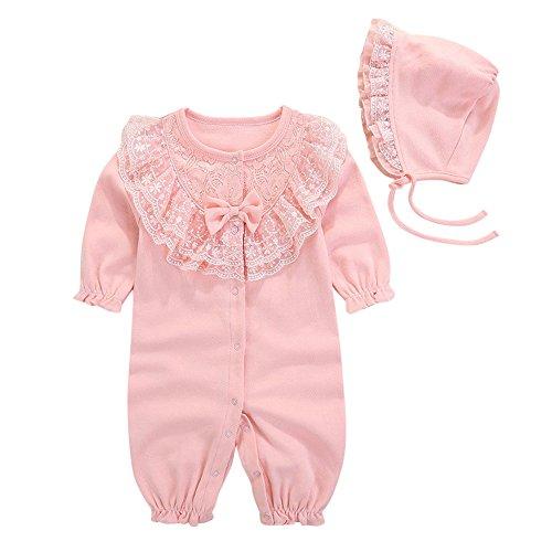 Kinderkleidung LUVERSCO Das Neugeborene MäDchen Gap Hut + Strampler Overall Outfits Kleidung Neugeborenes Jumpsuit (Rosa, 50) (Baby Gap Mädchen-kleidung)