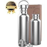 TRIPLE TREE Edelstahl Trinkflasche 500ml / 700ml / 1L BPA Freie, Auslaufsicher Metall Wasserflasche für Outdoor, Büro, Camping, Fahrrad